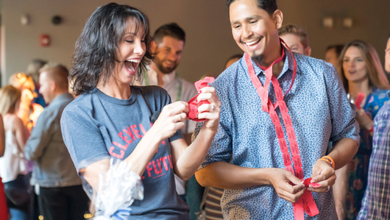 Carlos Carrasco, Betsy Kling and Indians teammates support Cleveland is the Future event